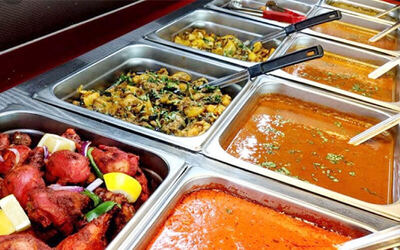 All You Can Eat Indian Lunch Buffet with Free Flow Drinks for 1 Person