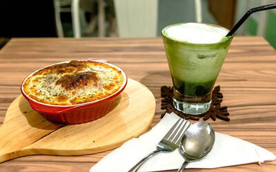 Cheese Baked Rice with Chinese Sausage + Iced Matcha Latte for 1 Person