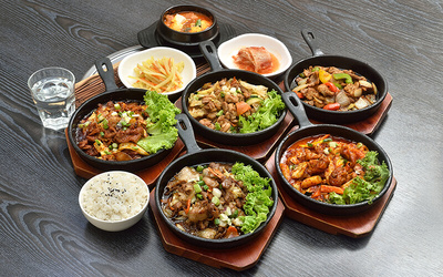 5-Course Chicken / Pork Korean Lunch Set with Drink for 1 Person
