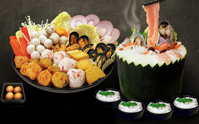 Seafood Winter Melon Steamboat Set for 4 People