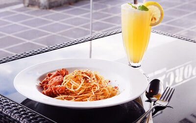 Crispy Pork Belly Aglio Olio + Drinks Set for 1 Person