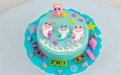 One (1) 2.5kg Cartoon Sharks Design Jelly Cake
