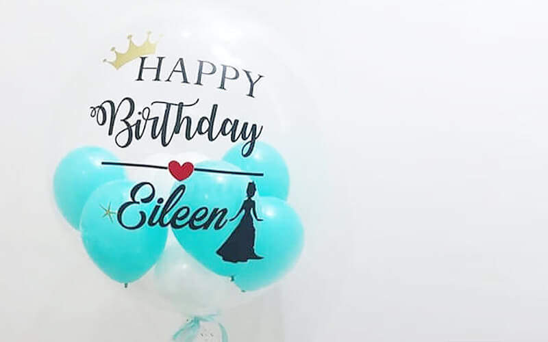 Personalised Bubble Balloon Set with 10 Mini Balloons