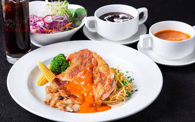 (Mon - Fri) Western Lunch Set with Drink + Free-Flow Soup, Salad, and Ice Cream for 1 Person