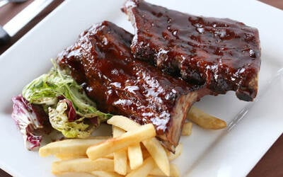 (Mon - Thu) BBQ Baby Back Ribs with a Glass of Wine for 1 Person