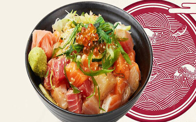 Japanese Donburi Set with One (1) Hot / Cold Green Tea for 1 Person