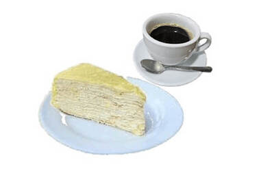 One (1) Slice of Fresh Musang King Crepe Cake with Arabica Long Black Coffee