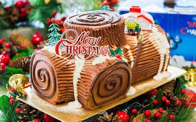 [Y.E.S] 1.2kg Christmas Chocolate Log Cake