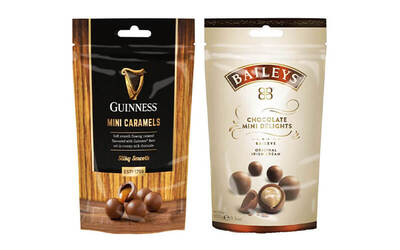 One (1) 102g Baileys Mini Delight and One (1) 102g Guinness Mini Caramels