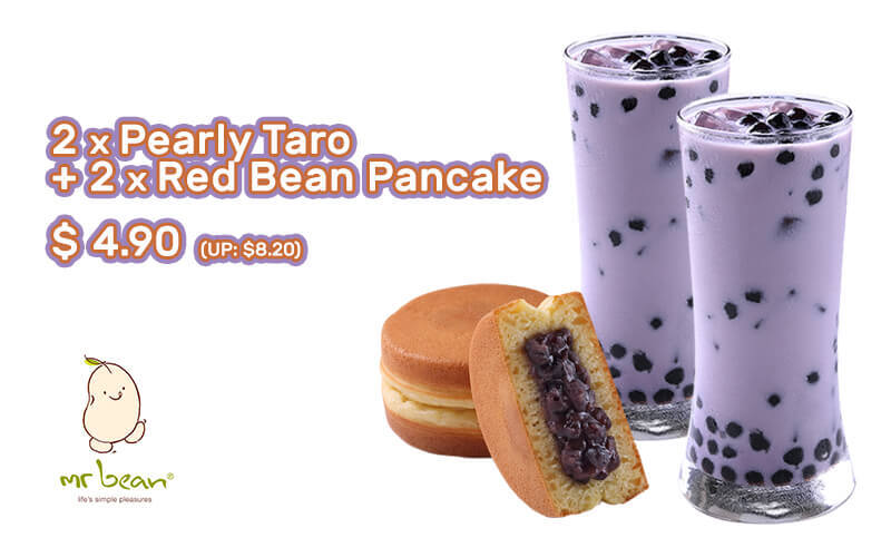 GSS Double Treats: Two (2) Pearly Taro Soya Milk + Two (2) Red Bean Pancakes