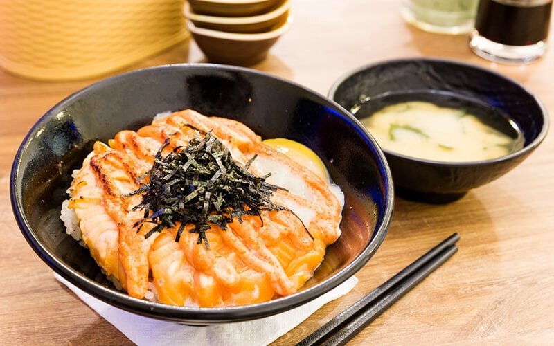 Truffle Mentaiko Salmon Don with Miso Soup for 1 Person