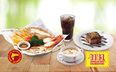 [11.11] The Manhattan FISH MARKET: Variety Treat with Fizzy, Soup of the Day, and Manhattan Mud Pie for 1 Person