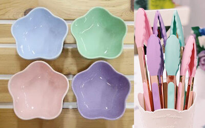 [11.11 Sale] Bundle of Four (4) Pastel Flower Bowls and One (1) Rose Gold Tongs (Large)