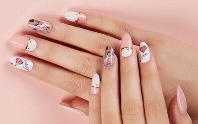 Express Gel Manicure with Two (2) Customised Nail Art Print Design for 1 Person