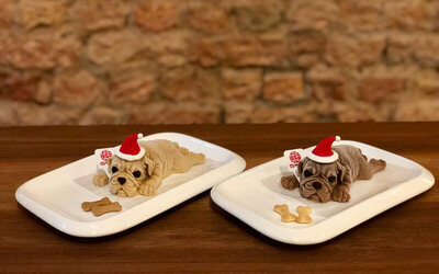Puppy Mousse Cake Set with Coffee for 2 People