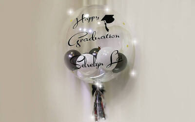 "24"" Personalised Bubble Balloon with 10 Mini Balloons"
