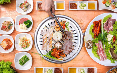 Korean BBQ Pork and Seafood Set with Refillable Side Dishes for 3 People