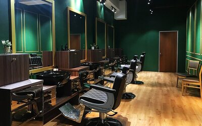 Men's Professional Barber Hair Cut + Scalp Tonic Treatment + Hot Towel Shave for 1 Person
