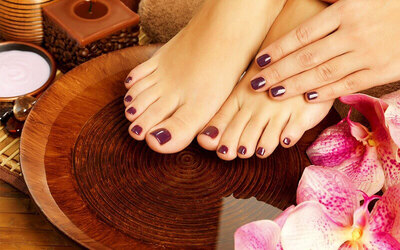 Gel Mani-Pedi with Sea Salt Foot Soak and Scrub for 1 Person