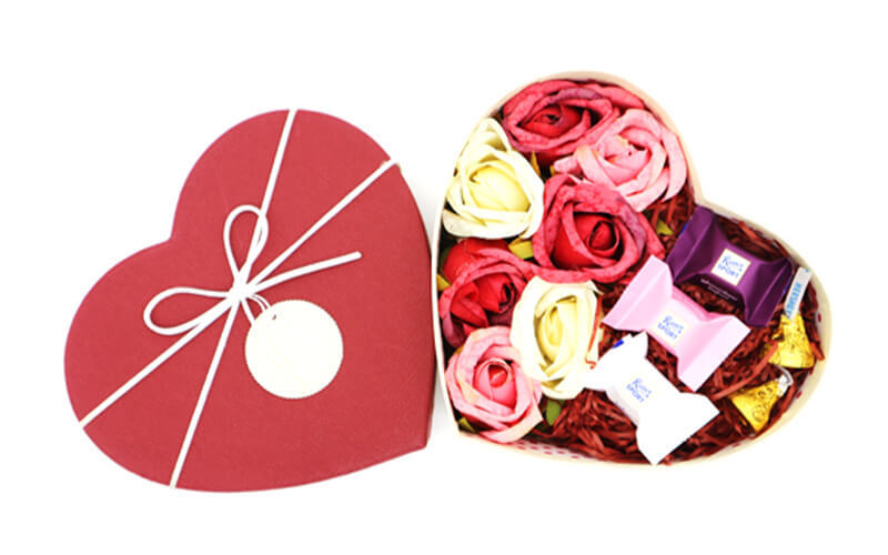 Heart-Shaped Box of Flowers with Ritter Sport + Hershey's Kisses Chocolates