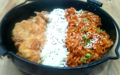 Uppa Fire Noodle Chicken + Ice Tea