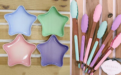 [11.11 Sale] Bundle of Four (4) Star Plates with One (1) Rose Gold Tongs (Large)
