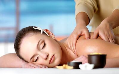 2.5-Hour Full Body Massage with Scrub + Ear Candling + Sauna for 2 People