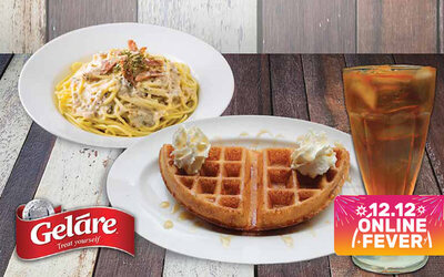 [HOT 12.12] Creamy Mushroom Pasta + Iced Lemon Tea + Half Classic Waffle for 1 Person