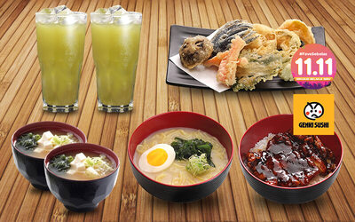 [#FaveSebelas] Chicken Black Pepper Bowl + Vegetable Tempura + 2 Wakame Miso Soup + Chicken Soup Ramen + 2 Ocha