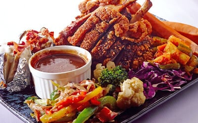 Pork Knuckle, Chicken, and Sausage Family Platter for 3 - 4 People