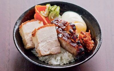 Crackling / Roast Pork Donburi with Egg and Soft Drink for 1 Person