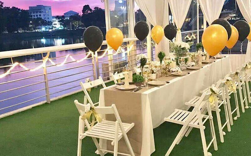 Fine Dining Set-up with Balloons and Rose Petal Decorations for 2 People