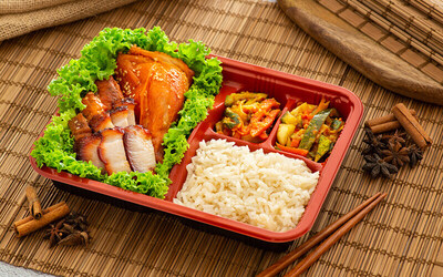 One (1) Quarter Roasted Chicken Bento + 50g Char Siew