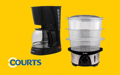 Courts Bundle Package: ELBA Coffee Maker with ELBA 3-Tier Food Steamer