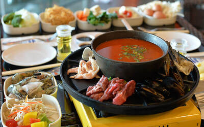 Steamboat and Grilled BBQ Dinner Buffet for 4 People