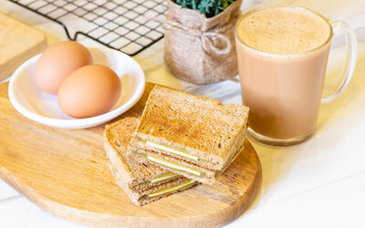 Kaya Butter Toast Set with Eggs and Drinks for 2 People