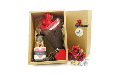 Handmade Flower Bouquet and Hershey's Hugs and Kisses Chocolates Gift Set