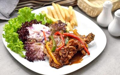 3-Course Chicken Chop Meal with Free-Flow Orange Cordial Drink for 1 Person