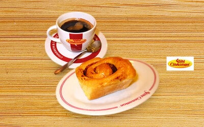 1 Pcs Cinnamon Roll + 1 Black Coffee / Ice Tea / Ice Lemon Tea