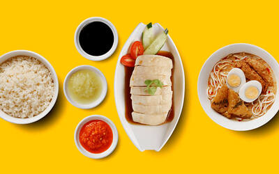 Signature Chicken Rice + Mini Signature Laksa Noodle + Salad / Dessert + Drink for 1 Person