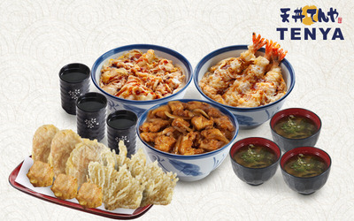 1 Chicken Tojidon + 1 Teriyaki Chicken Tendon + 1 Ebi Tojidon + 3 Miso Soup + 3 Ocha + Deep Fried Set