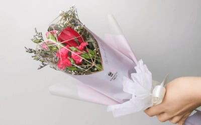 One (1) Red Mixed Petite Flower Bouquet in Diamond Heart Wrapping