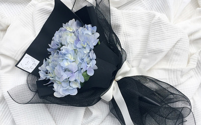 One (1) Classic and Ordinary Blue Hydrangeas Bouquet