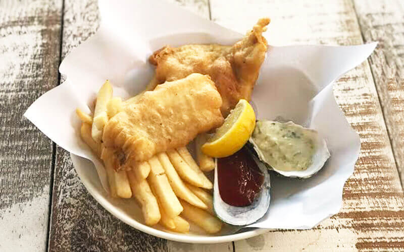 North Sea Cod / Barramundi Fish and Chips for 1 Person
