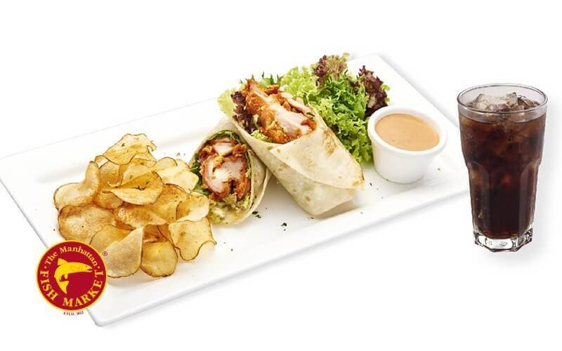 [Fave Exclusive] The Manhattan FISH MARKET: Spicy Chicken Wrap with Fizzy for 1 Person