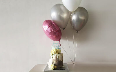 "One (1) Tall Cake with One (1) Personalised 12"" Latex Helium Balloon and Balloon Colour Foil"