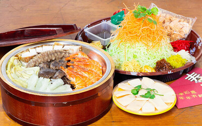 [Y.E.S] Prosperity Pen Cai with fresh Abalones & Prawns for 6-8 Pax + Yu Sheng