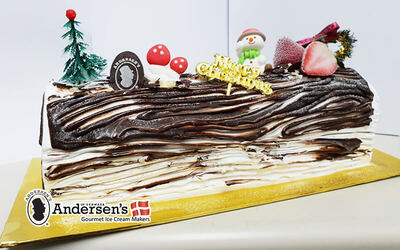 One (1) 1kg Ice-Cream Christmas Log Cake with Cooler Bag