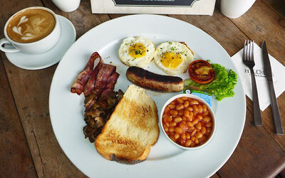 The Works Big English Breakfast + Cappuccino for 1 Person